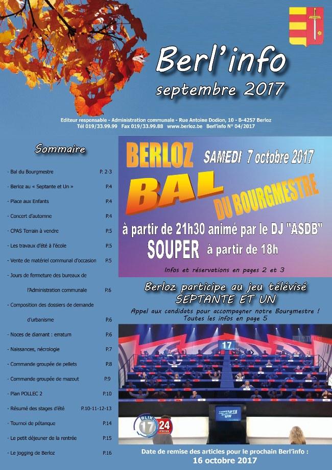 Berl'info septembre 2017   Couverture