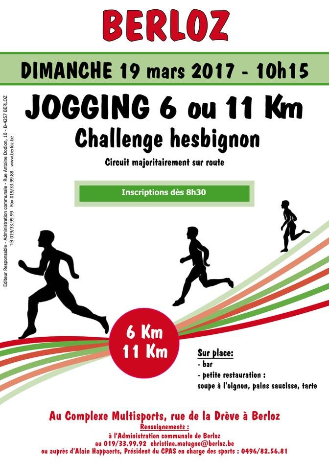 Jogging challenge hesbignon 2017   affiche