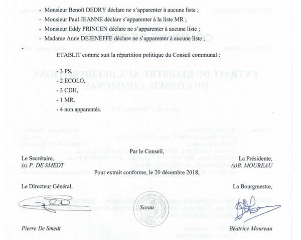 Composition définitive Conseil   apparentements   2