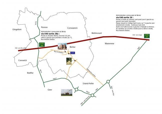 Plan d'accès à Berloz