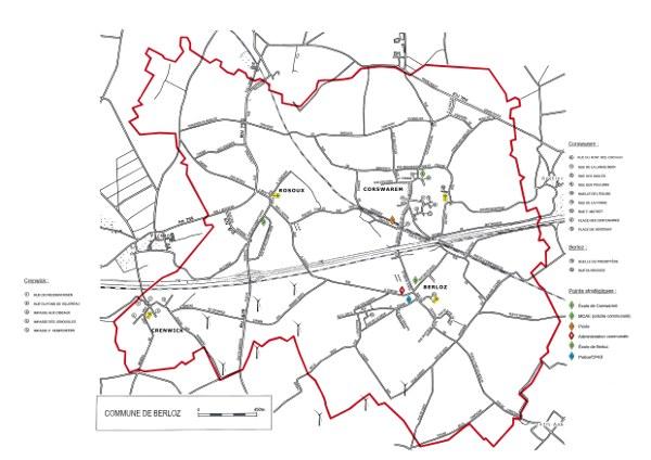 Carte Berloz   plan des rues