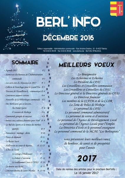 Berl'info décembre 2016 couverture