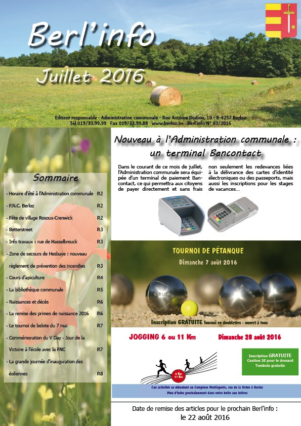 Berl'info juin 2016 couverture