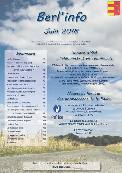 Berl'info  juin 2018   couverture bis