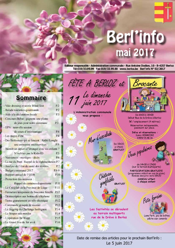 Berl'info mai 2017   couverture