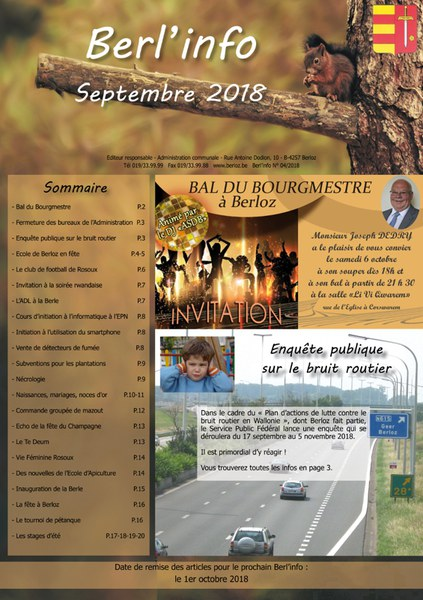Berl'info sept 2018   couverture