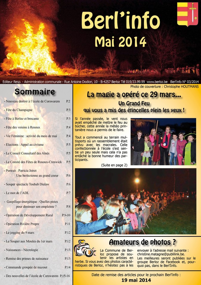couverture Berl'info mai 2014