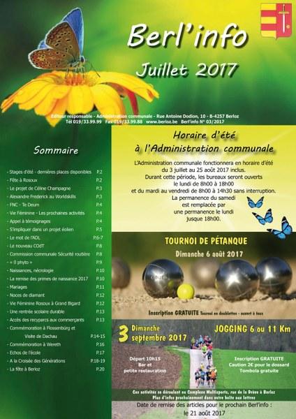 couverture Berl'info juillet 2017 réduite