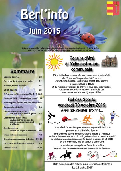 couverture Berl'info juin 2015